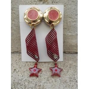 Boucles d'oreilles grillage et pendentif étoile