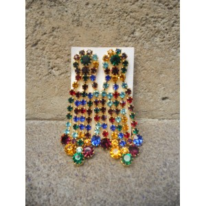 Boucles d'oreilles cascade multicolore (lot de 2 pièces)